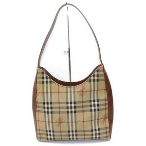 Auth Burberry Shoulder Bag Brown Coated #N0296O71